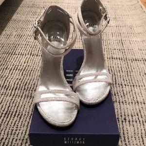 Stuart Weitzman Nudist White Glitter Sandal